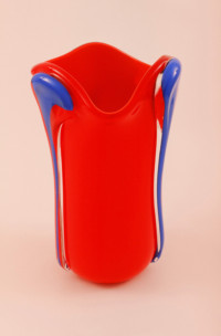 Scarlet Red with Lapis Blue Vessel